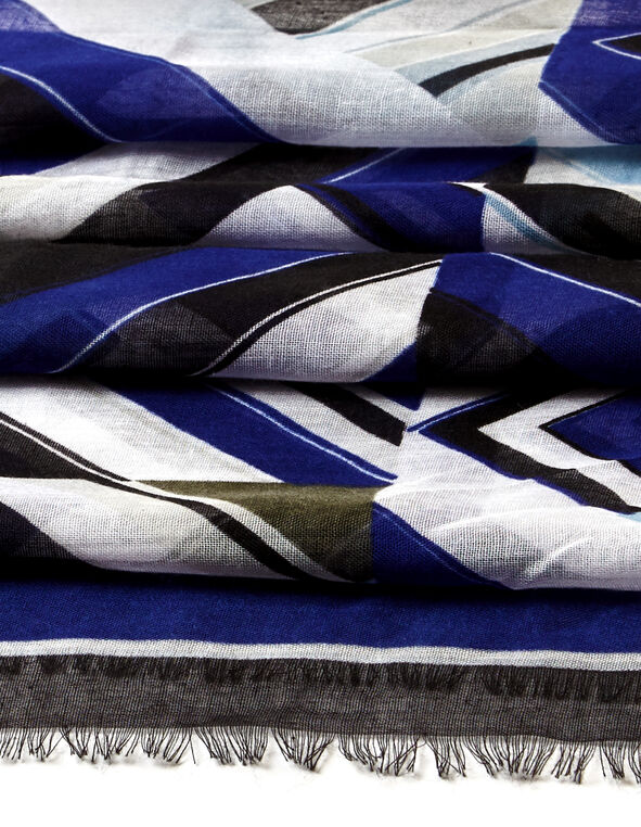 Royal Blue Geometric Scarf, Royal Blue/Washed Blue/Ivory/Black, hi-res
