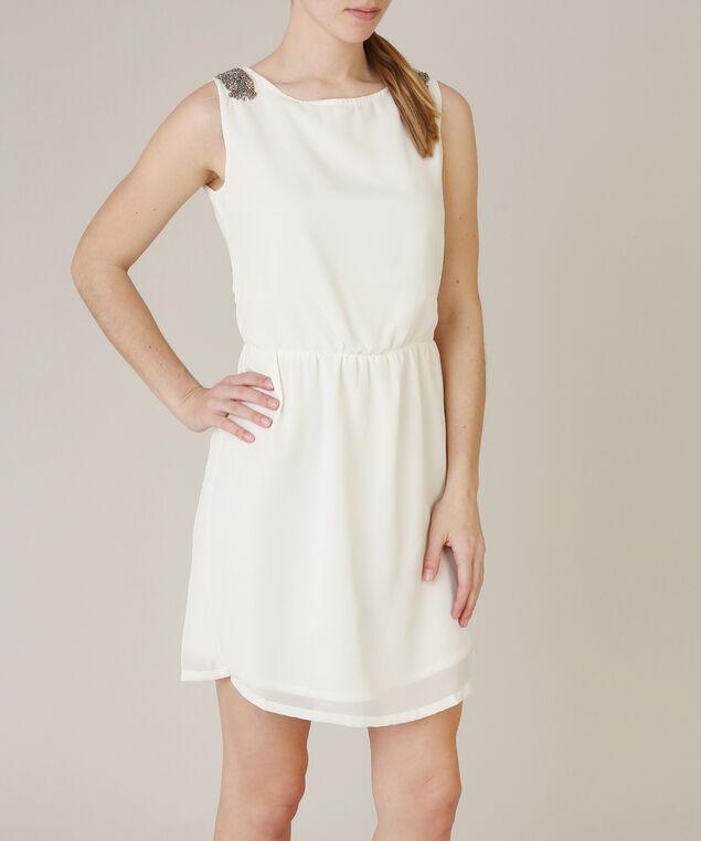 embellished shoulder dress, IVORY, hi-res