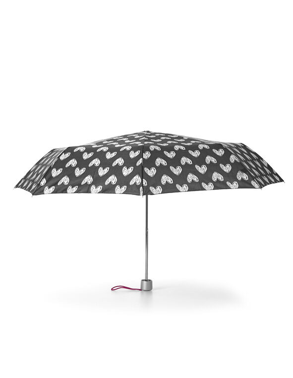 White Heart Printed Umbrella, Black/White, hi-res