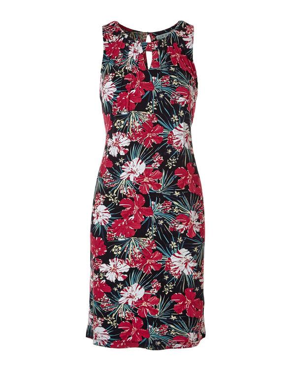 Tropical Jersey Shift Dress, Red/Blue/Black, hi-res