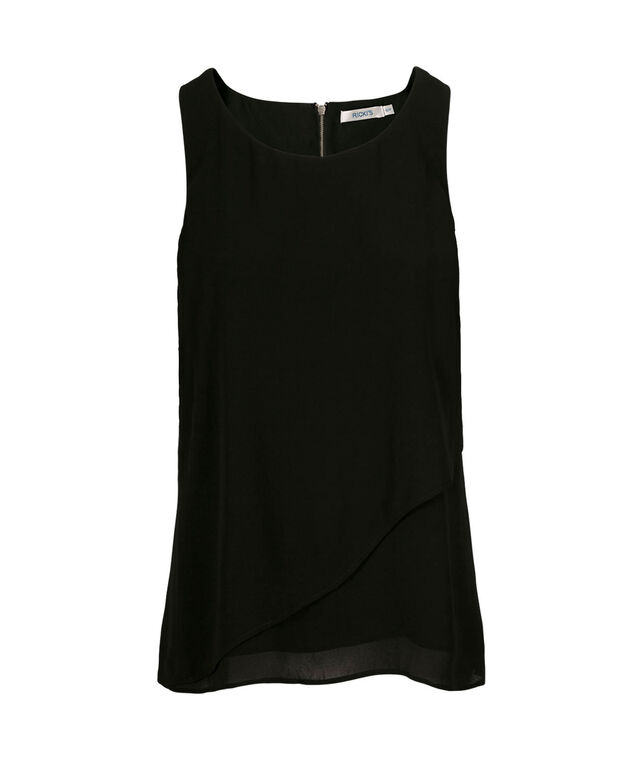 Sleeveless Ruffle Front Blouse, Solid Black, hi-res