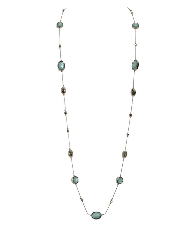 Glitter Stone Necklace, Green/Rhodium, hi-res