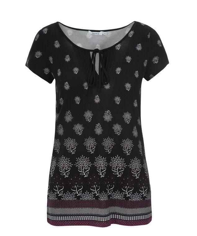 Short Sleeve Pintuck Tee, Black/White Print, hi-res