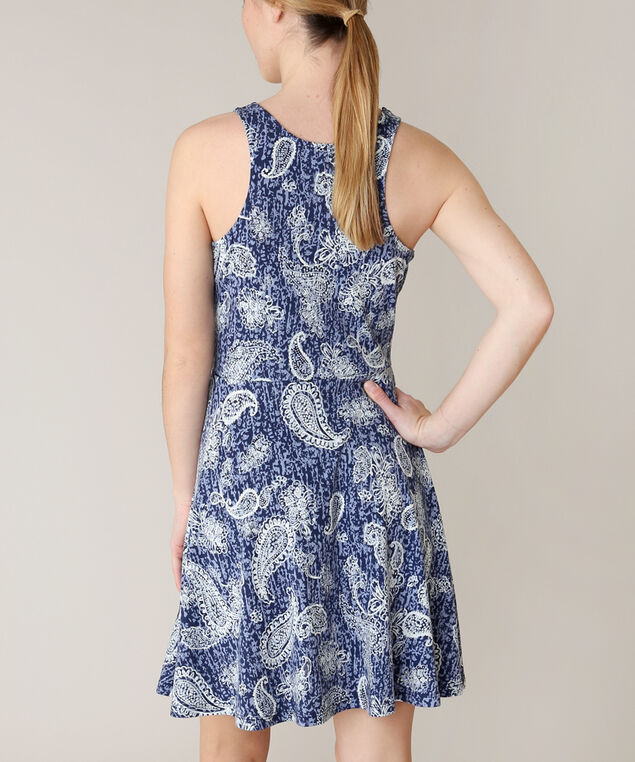 fit and flare dress, BLUE, hi-res