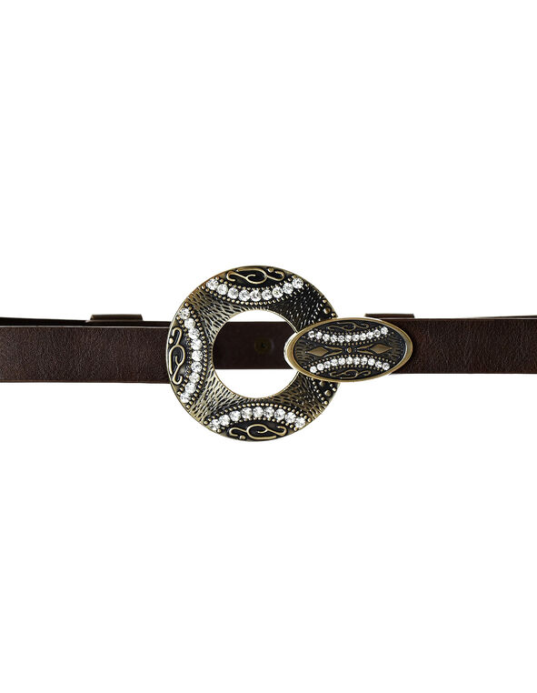 Adjustable Circle Buckle Brown Belt, Brown/Gold, hi-res