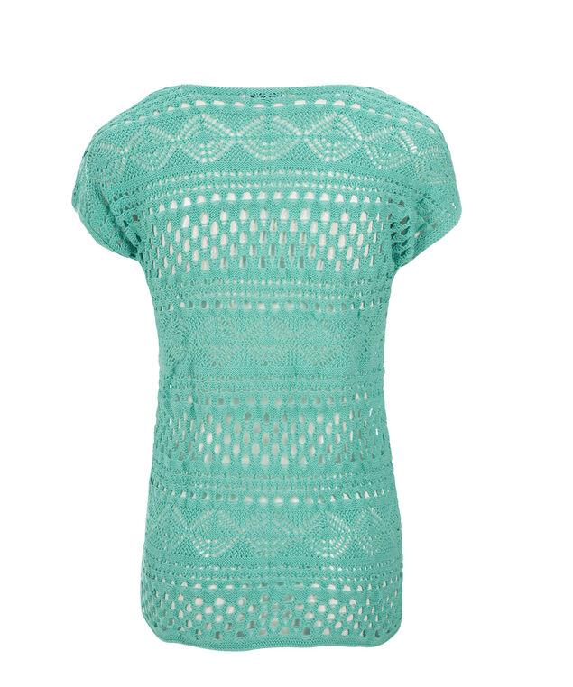 Short Sleeve Crochet Pullover, Light Turquoise, hi-res