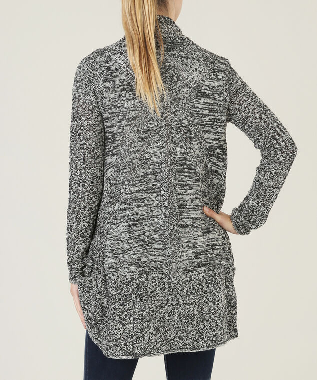 open cardi with pointelle back - wb, BLACK IVORY, hi-res