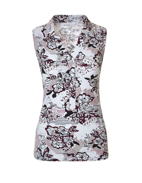 Floral Print Collared Tee, White/Black/Grey, hi-res