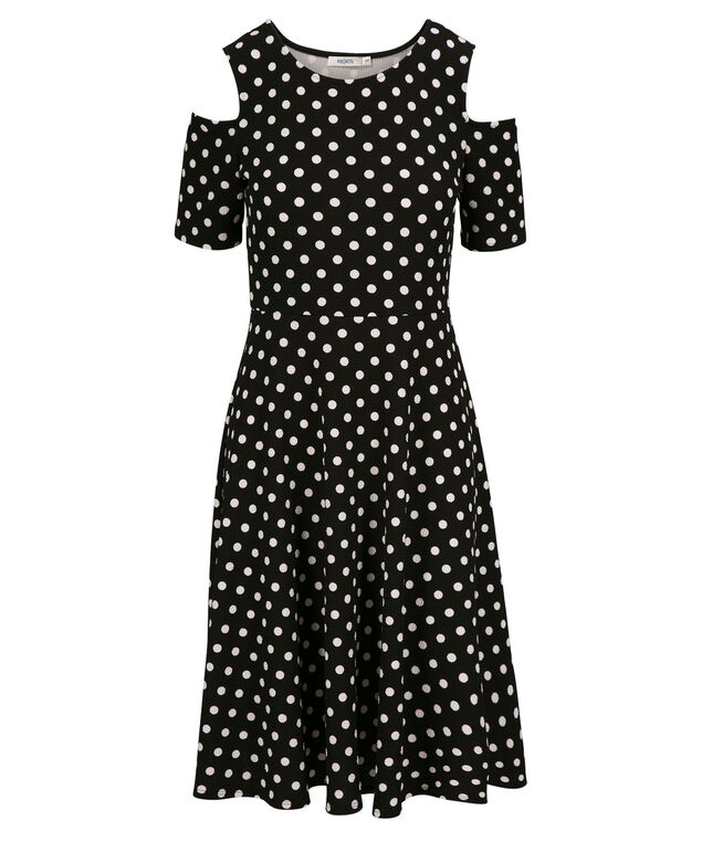 Cold Shoulder Fit & Flare Dress, Black/White Dot, hi-res
