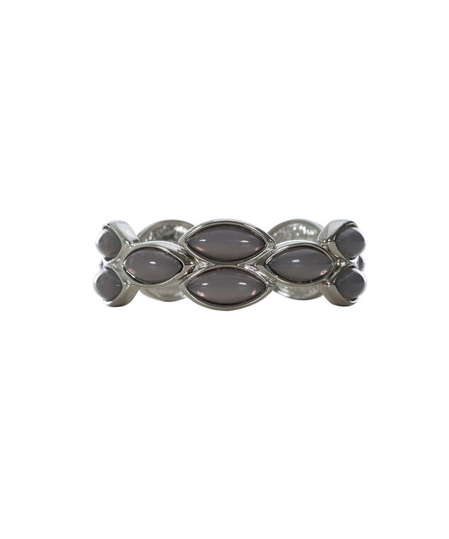 Stone Leaf Stretch Bracelet, Grey/Rhodium, hi-res