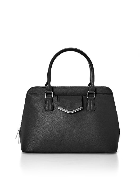 Black Saffiano Dome Bag, Black/Silver, hi-res