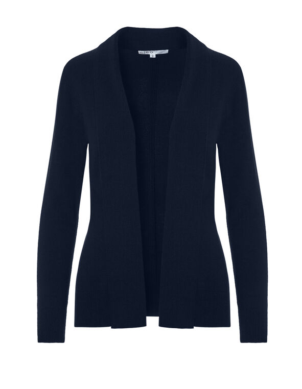 Navy Mid Ribbed Cardigan, Navy, hi-res