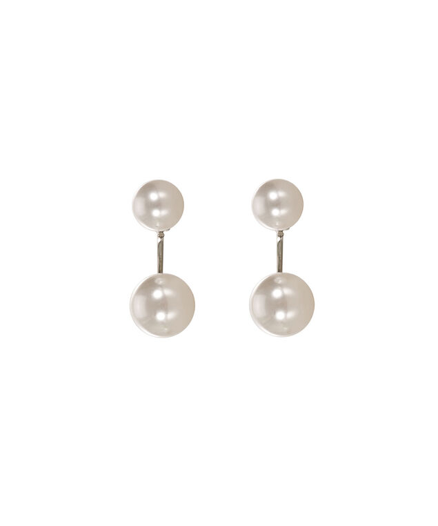 Pearl Front Back Earring, White/Rhodium, hi-res