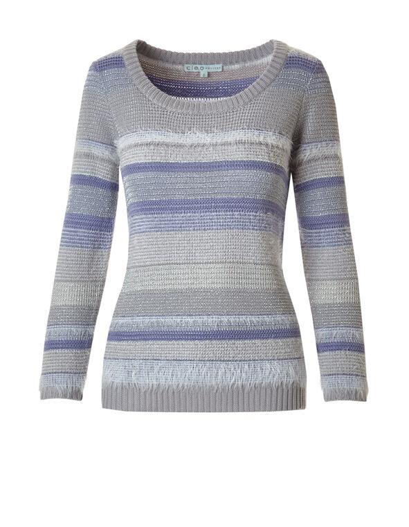Lilac Feather Yarn Sweater, Grey/Lilac, hi-res