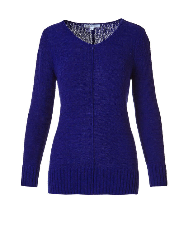 Royal Blue V-Neck Sweater, Royal Blue, hi-res