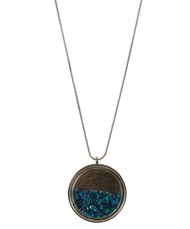 Glass Circle Pendant Necklace, Sapphire/Turquoise/Green/Rhodium, hi-res