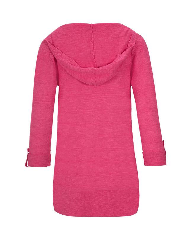Roll Cuff Slub Hoodie, Vibrant Pink, hi-res