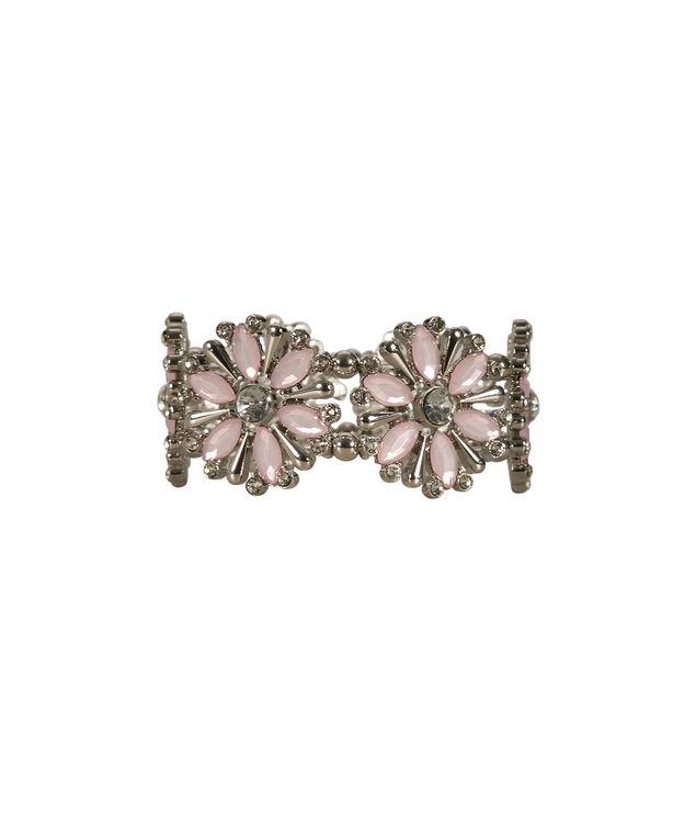 Floral Crystal Stretch Bracelet, Misty Pink/Rhodium, hi-res
