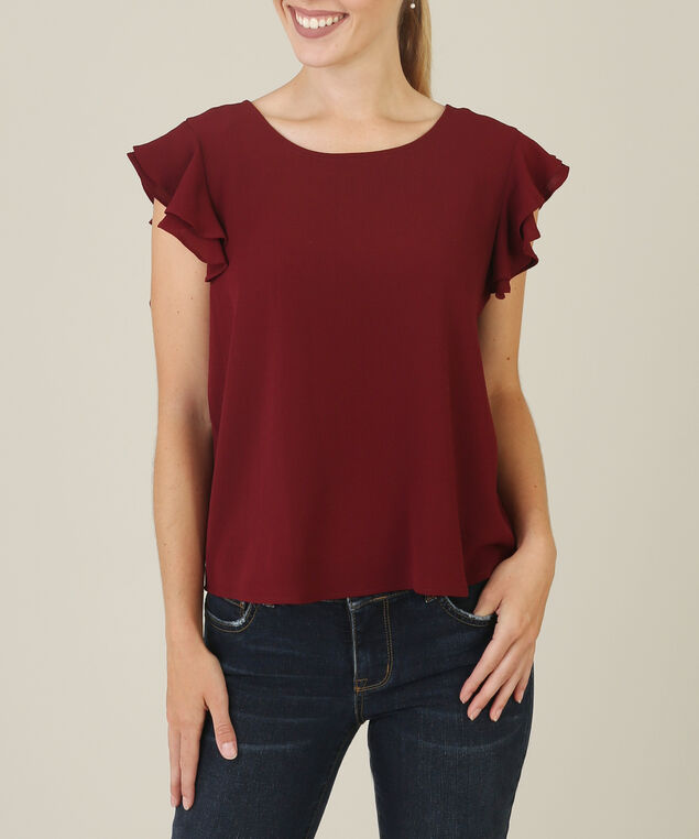 ruffle shoulder blouse wb, WINE, hi-res