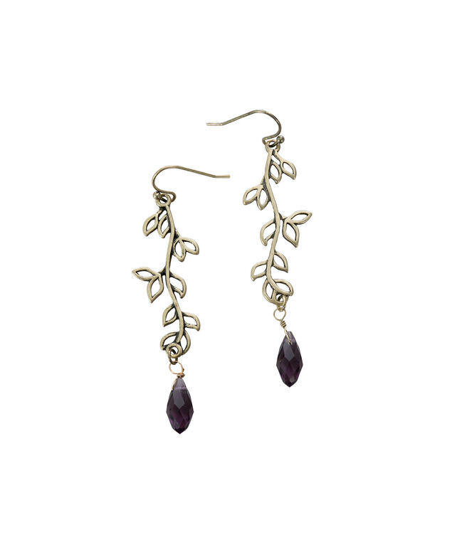 Leaf On Vine Earring, Amethyst/Burnished Gold, hi-res