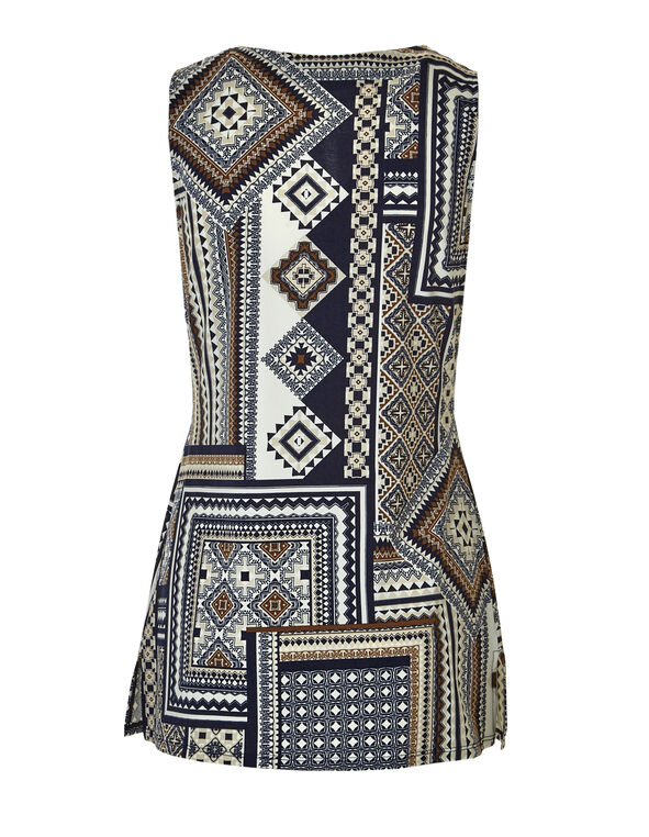 Tribal Print Split Neck Top, Navy/Brown, hi-res