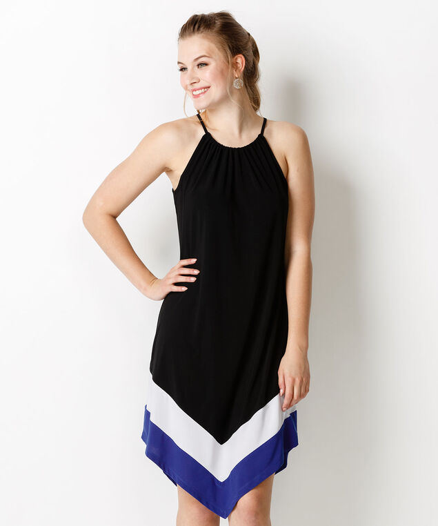 Halter Colourblock Hem Dress, Black/White/Sapphire, hi-res