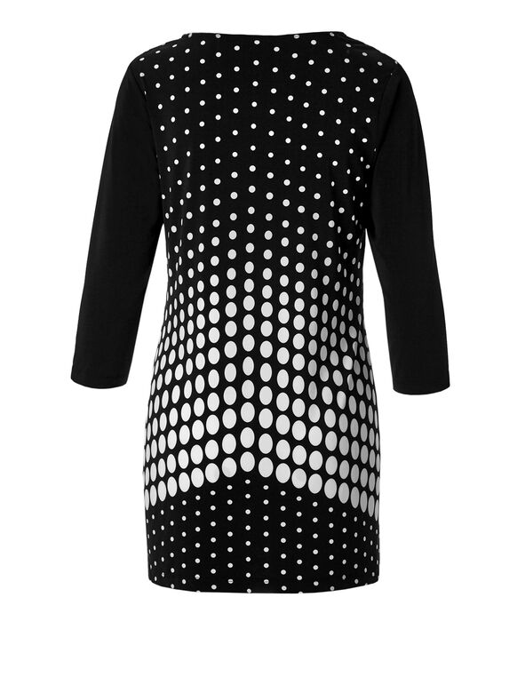 Polka Dot V-Neck Tunic, Black/Ivory, hi-res