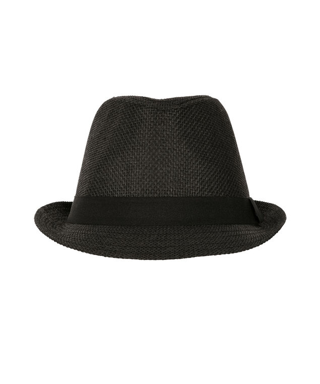 Ribbon Detail Fedora Hat, Black, hi-res