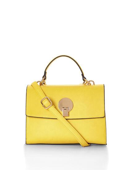 Yellow Top Handle Handbag, Yellow, hi-res