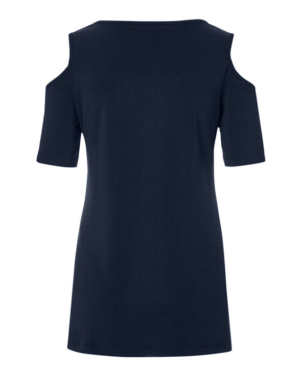 Navy Cold Shoulder Top, Navy, hi-res