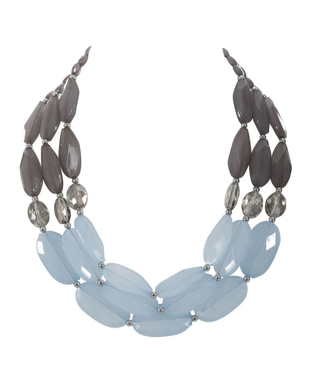 Bead Statement Necklace, Misty Blue/Grey, hi-res