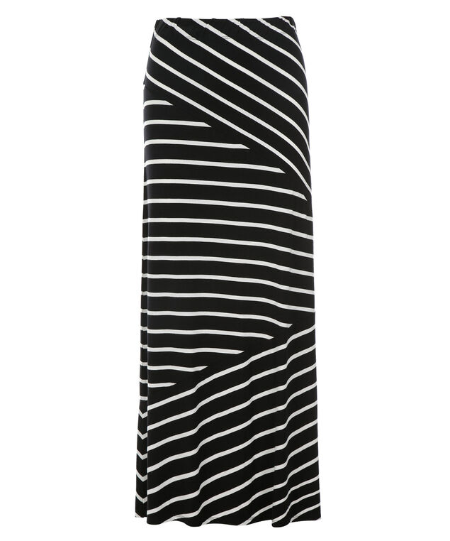 Knit Striped Maxi Skirt, Black/White Stripe, hi-res