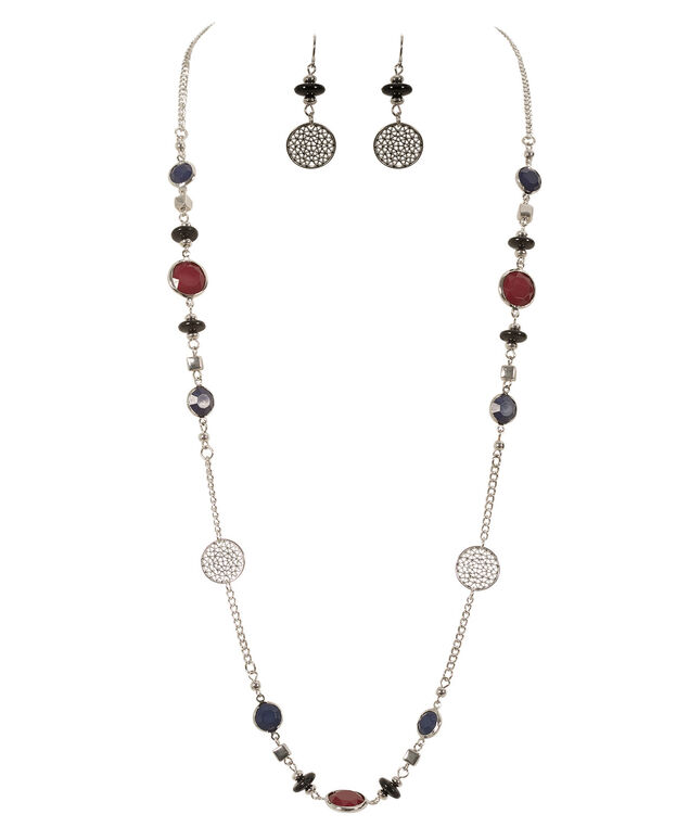 Filigree Circle Necklace Set, Deep Red/Blue/Rhodium, hi-res