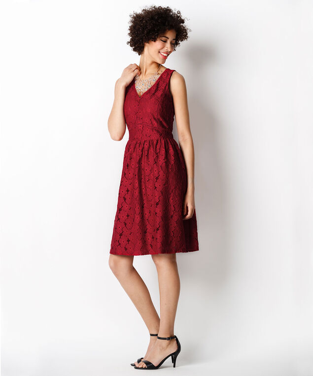 Red Floral Lace Dress, Poppy Red, hi-res