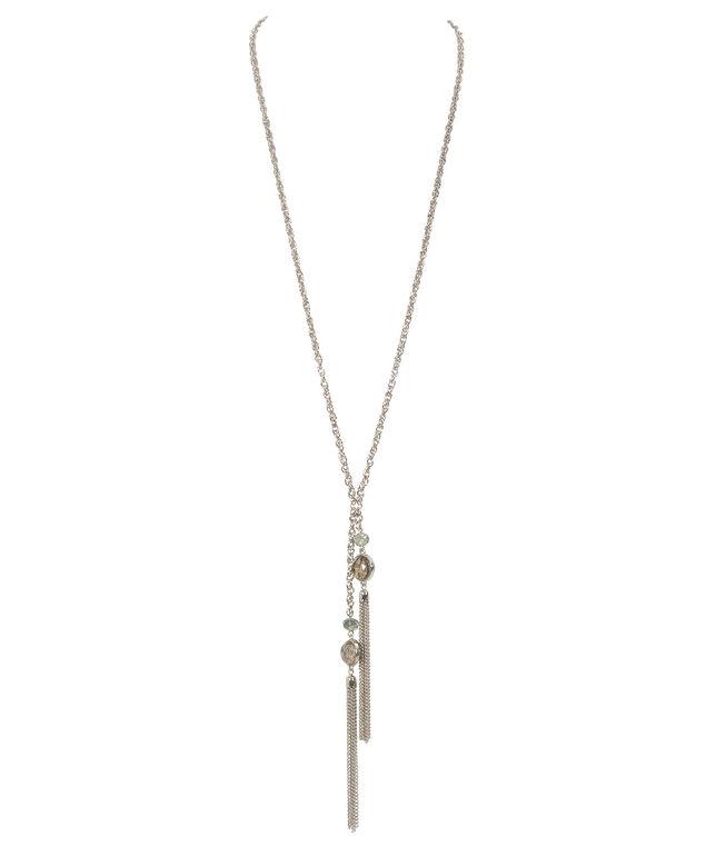 Natural Stone Tassel Necklace, Neutral/Rhodium, hi-res