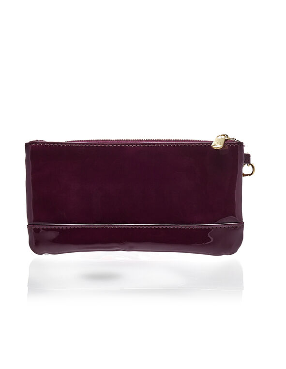Claret Patent Leather Wristlet, Claret, hi-res