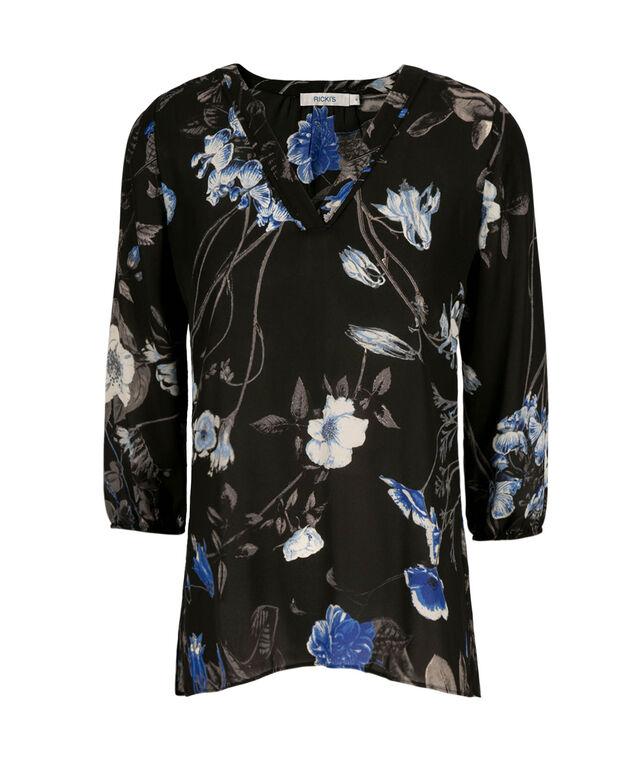 3/4 Sleeve Blouse, Blue Print, hi-res