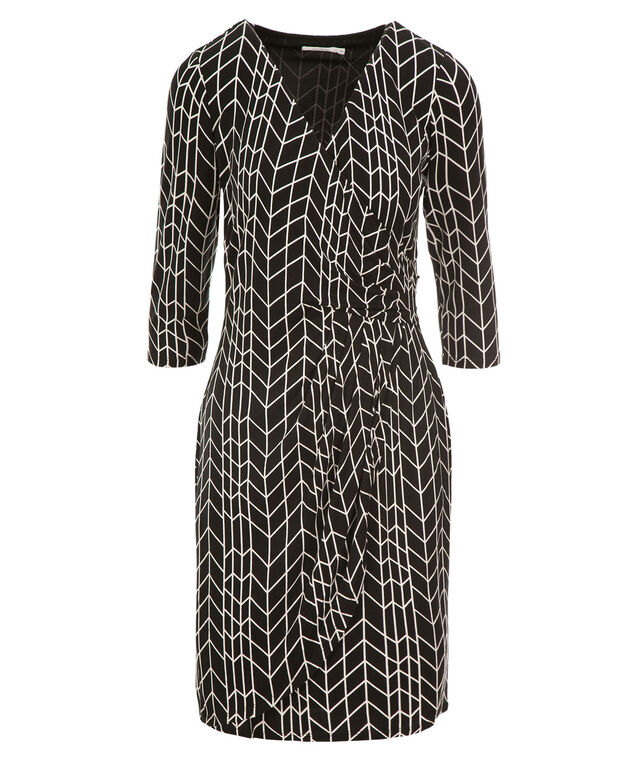 Side Knot Wrap Dress, Black Geo Print, hi-res