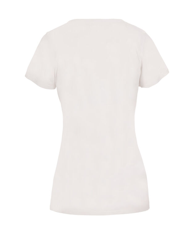 Short Sleeve Embellished Tee, White Pattern, hi-res