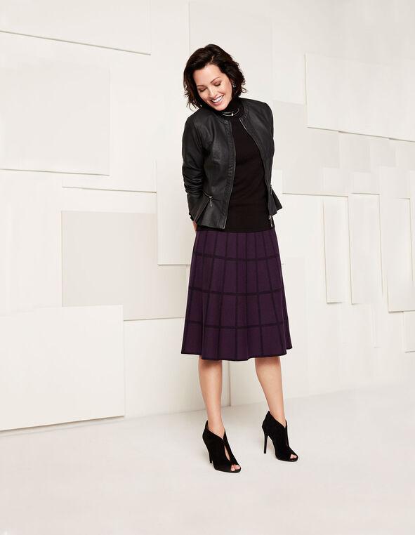Plum Plaid Sweater Skirt, Dark Plum, hi-res