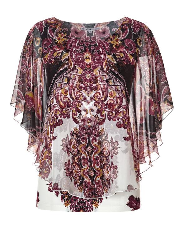 Claret Print Caftan Blouse, Claret/Saffron/White/Black, hi-res