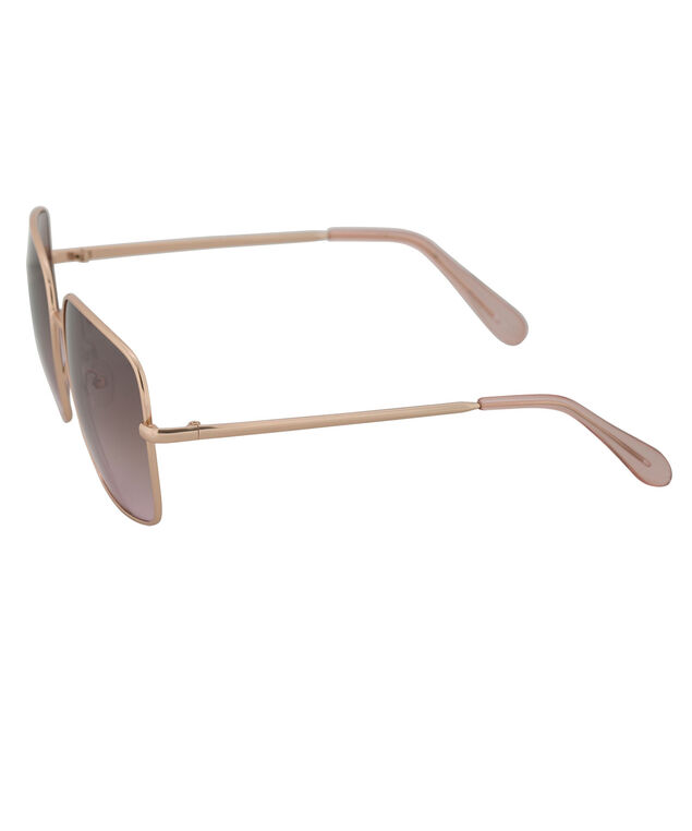 Square Metal Frame Sunglasses, Pink/Gold, hi-res