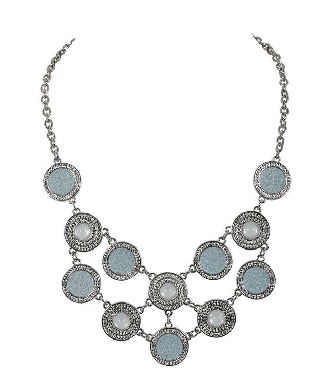 Textured Circle Glitter Necklace, Light Blue/Rhodium, hi-res