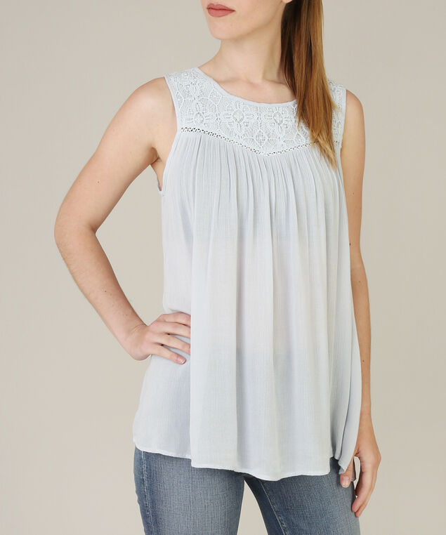 lace yoke top, LIGHT BLUE, hi-res