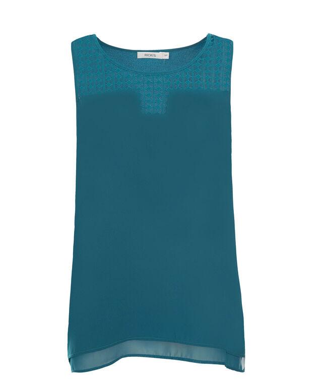 Crochet Yoke Tank, Turquoise, hi-res