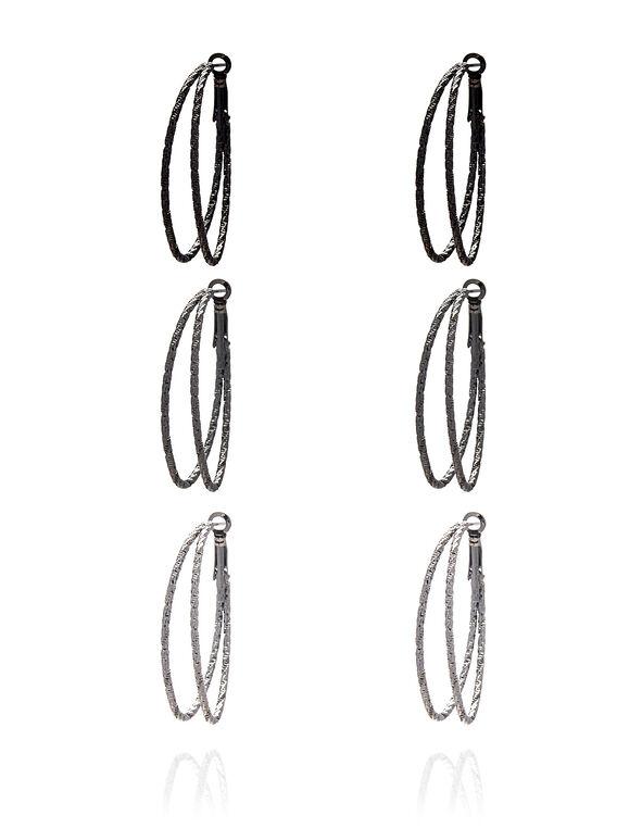Textured Oval Hoop Earring Set, Black/Silver/Hematite, hi-res