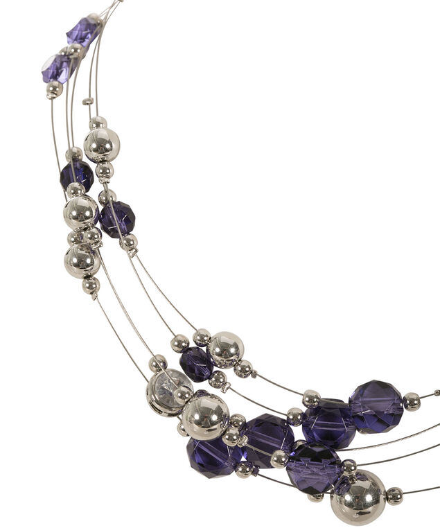 Stationed Wire Necklace, Royal Purple/Rhodium, hi-res