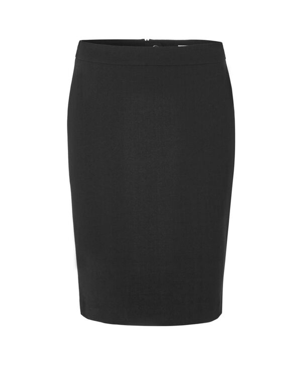 Black Suiting Pencil Skirt, Black, hi-res