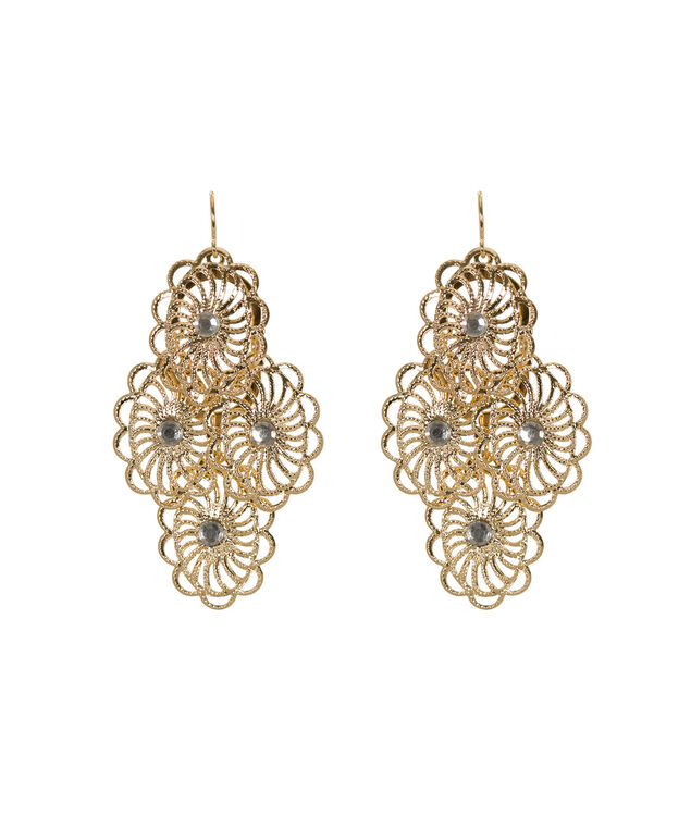 Cutout flower Earring, Soft Gold, hi-res