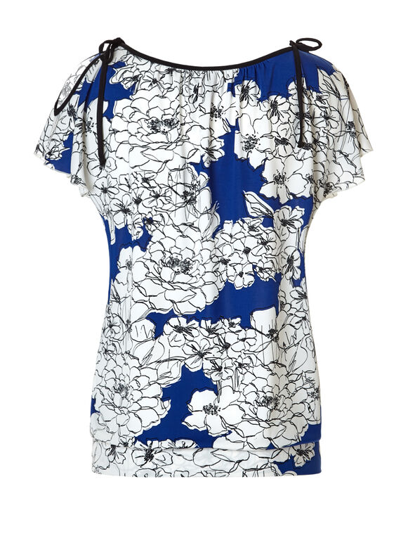 Blue Floral Shoulder Tie Top, Blue/White/Black, hi-res